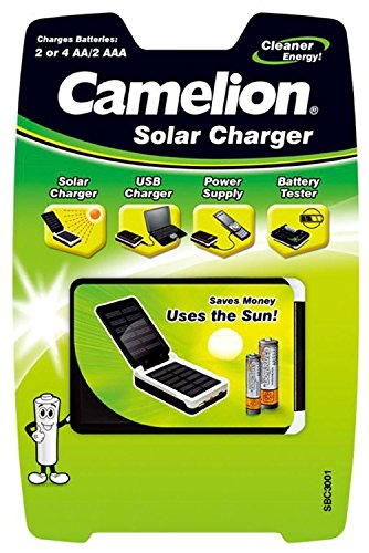 Camelion 20003001 Solar Charger (Suitable for 2 - 4 x AA NiMH Batteries, AA, 2 x AAA/Micro)