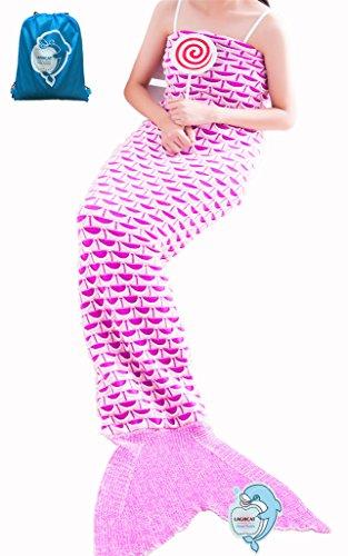 LAGHCAT Mermaid Tail Blanket Knit Crochet and Mermaid Blanket for Adult,Sleeping Blanket (71x35.5, Crescent Light Pink)