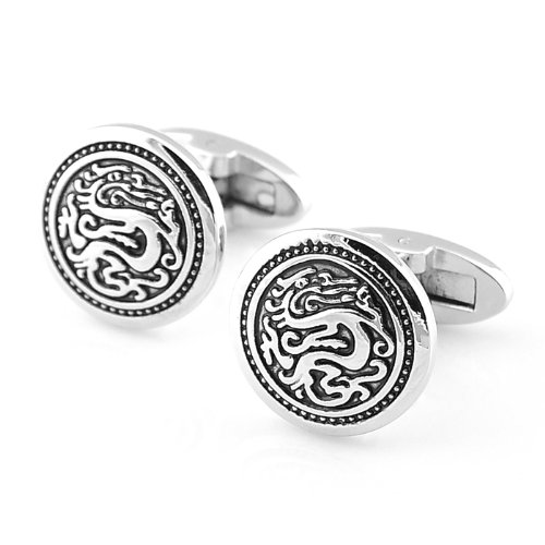 PenSee Retro Classic Dragon Black & Silver Cufflinks for Men with Gift Box