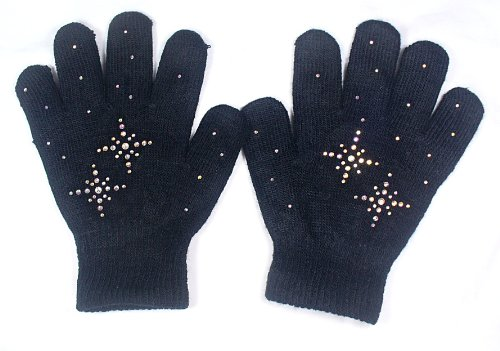 @Fedol Black Ice Skating Gloves Magic Stretch with Clear Rhinestones Snow Flakes