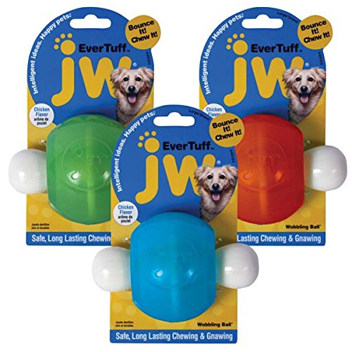JW Pet Company 46124 Wobbling Ball Toys for Pets, Large, Assorted Colors White with Orange or Blue