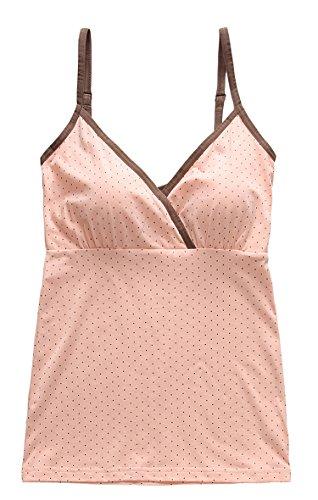 SUIEK® Women Maternity Nursing Tank Top Camisole Sleep Bra For Breastfeeding (Small, Coffe Dot)
