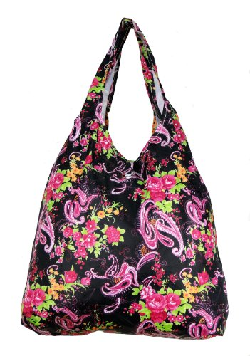 Trendy Sturdy Shopping Tote Bag - Magenta Paisley Pattern