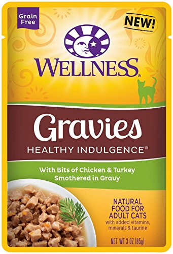 Wellness Healthy Indulgence Grain Free Gravies Chicken & Turkey Wet Cat Food, 3-Ounce Pouch (Pack of 24)