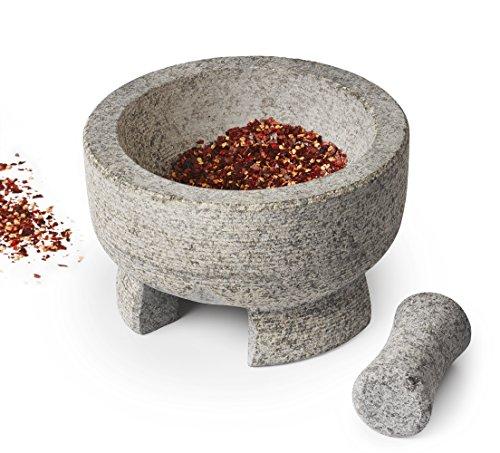 Sagler Mortar and Pestle Granite stone Molcajete spice grinder 7.8 X 4.7