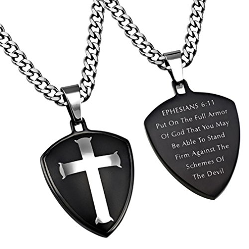 Armor of God Necklace with Stainless Steel Thick Chain & Christian Bible Verse