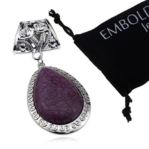 Silver European Vintage Charm Flower Teardrop Shape Kallaite Color Jewelry Necklace Findings Pendant Scarf