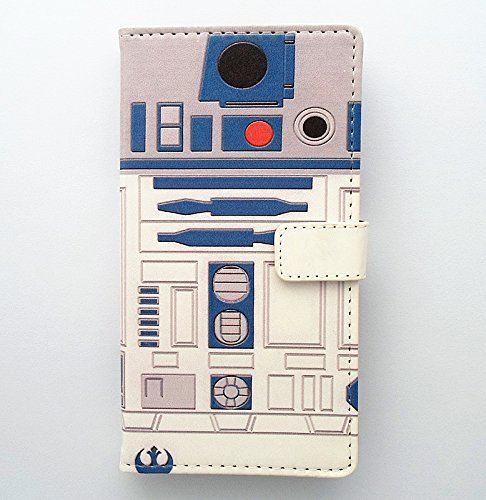 Galaxy Note 4 Case - R2D2 Robot Blue and White Pattern Slim Wallet Card Flip Stand PU Leather Pouch Case Cover For Samsung Galaxy Note 4 - Cool as Great Gift