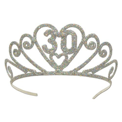 Glittered 30 Tiara Party Accessory (1 count) (1/Pkg)
