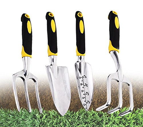Yacoto 4 Piece Softouch Garden Tool Set Ergonomic Gardening Tool Set - Ideal for Men and Women - Cultivator, Planter, Trowel with Softouch Handles