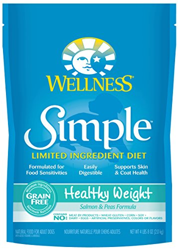 Wellness Simple Limited Ingredient Diet Grain Free Healthy Weight Salmon & Peas Natural Dry Dog Food, 4.5-Pound Bag