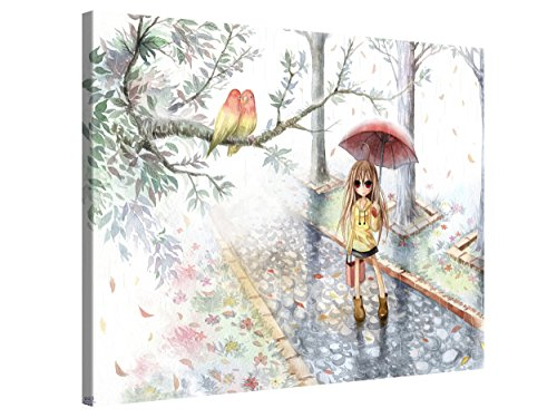 Large Anime Canvas Print Wall Art by Emperpep - LOVE IN THE RAIN - 40x30 Inch Canvas Picture Stretched On A Wooden Frame - Giclee Canvas Printing - Hanging Wall Deco Picture / e12646