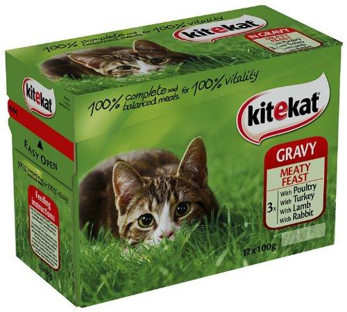 Kitekat Gravy Meatfeast 12 x 100 g (Pack of 4, Total 48 Pouches)