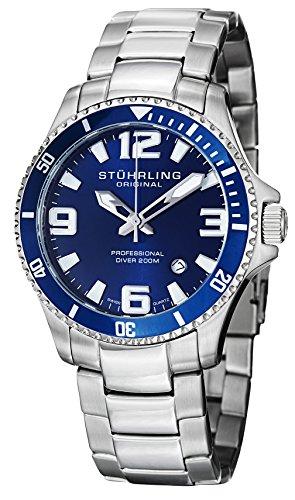 Stuhrling Original Regatta Champion Men's Quartz Watch with blue Dial Analogue Display and Silver Stainless Steel Bracelet 395.33U16