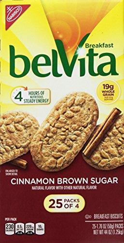 Belvita Cinnamon Brown Sugar Breakfast Biscuits Mega Pack - (25 Packs of 4) - 44 oz Total
