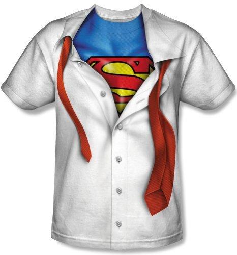 New Official I'm Superman Suit Tie Costume Logo T-Shirt Medium white