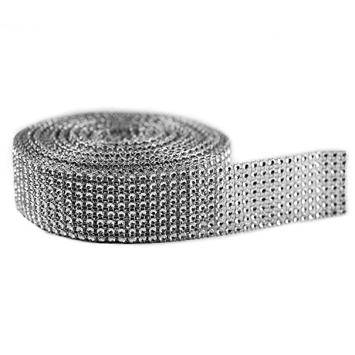 Silver Diamond Sparkling Rhinestone Mesh Ribbon for Event Decorations, Wedding Cake, Birthdays, Baby Shower, Arts & Crafts, 1.5 x 10 Yards, 8 Row, 1 Roll by Super Z Outlet®