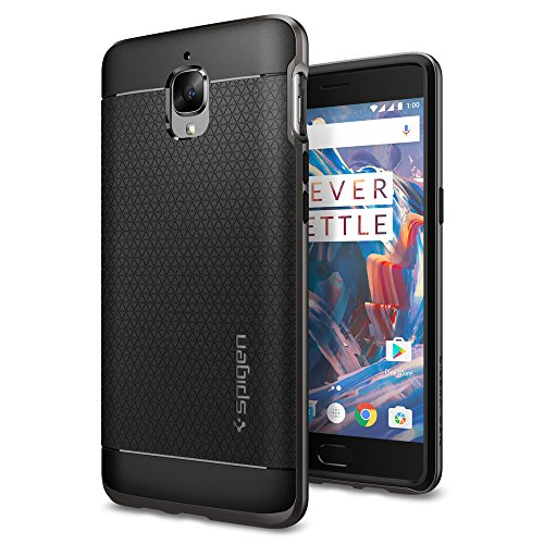 OnePlus 3 Case, Spigen® [Neo Hybrid] PREMIUM BUMPER [Gunmetal] Slim Fit Dual Layer Protective Bumper Case for OnePlus 3 (2016) - K03CS20617