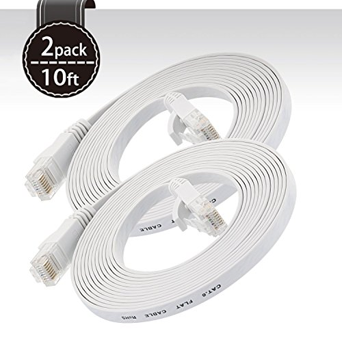 Cat 6 Ethernet Cable White 10ft (At a Cat5e Price but Higher Bandwidth) Flat Internet Network Cable - Cat6 Ethernet Patch Cable Short - Cat6 Computer Cable With Snagless RJ45 Connectors ( 2 PACK )