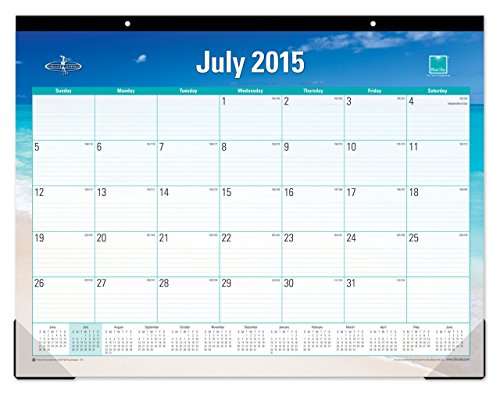Blue Sky 2015-2016 Academic Year Desk Pad Calendar, Endless Summer Collection, Case Bound, 22 x 17 Inches (17215-W)