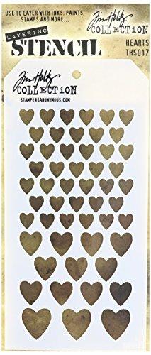 Art Gone Wild Plastic Tim Holtz Hearts Stencil