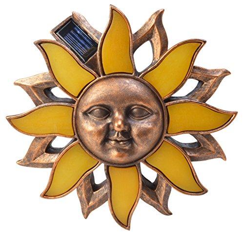 Moonrays 92346 Solar Powered LED Lights Poly Sun Wall Art, Amber