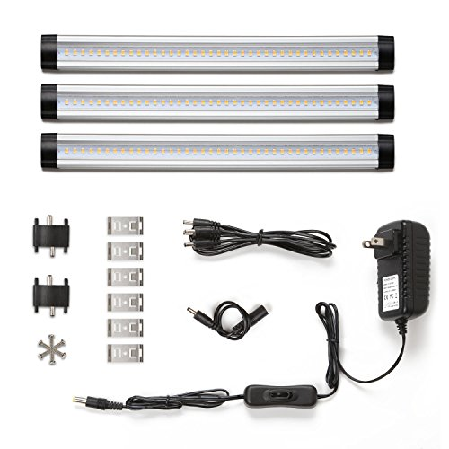 LE® Dimmable Under Cabinet Lighting, 3 Panel Deluxe Kit, Remote Control, Total of 12W 900lm, 12V Warm White, 24W Fluorescent Tube Equivalent, All Accessories Included, LED Light Bar, Closet Light
