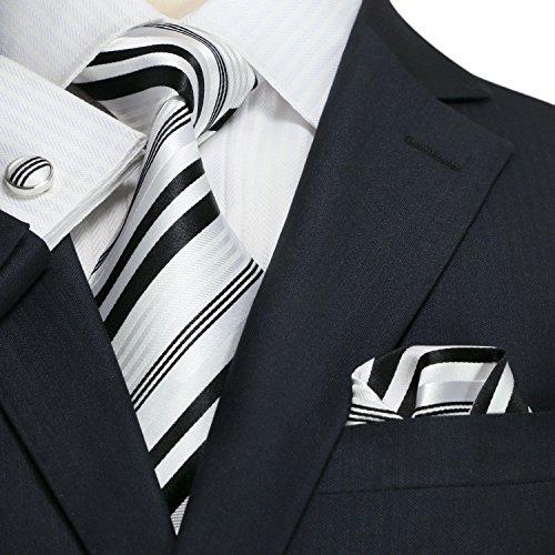 Landisun SILK Stripes Mens SILK Tie Set: Necktie+Hanky+Cufflinks 659 Black White, 3.75Wx59L