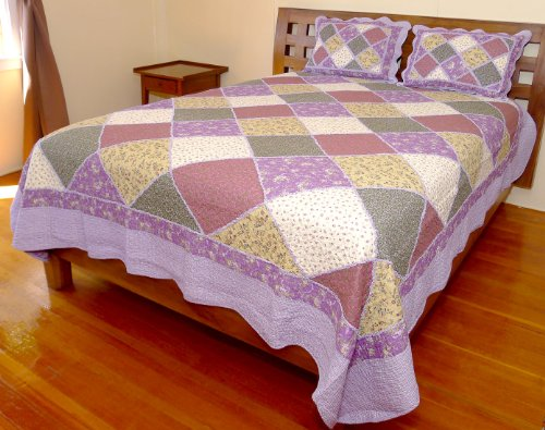 Squish Queen / King Quilt Blanket Set with Two Pillow Shams - Purple Theme