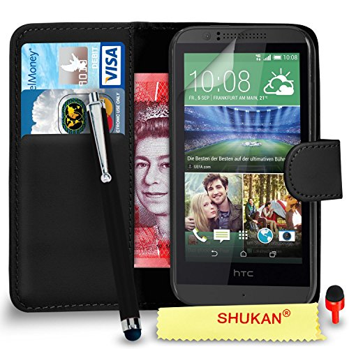 HTC Desire 510 Premium Leather Top Wallet Flip Case Cover Pouch + Big Touch Stylus Pen + RED 2 IN 1 Dust Stopper + Screen Protector & Polishing Cloth SVL2 BY SHUKAN®