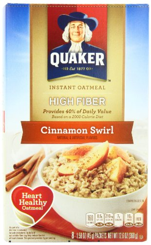 Quaker Instant Oatmeal, High Fiber, Cinnamon Swirl, Breakfast Cereal, 8 Packets Per Box (Pack of 4)