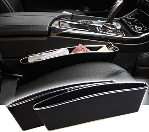 Mini-Factory 2 X Car Seat Side Slit Pocket Catcher Organizer Fills Gaps between the Seats with Removable Silver Rim (Black) - Fits Gaps Not Exceeding 4.5 CM Wide