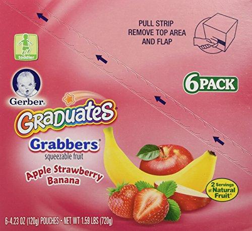 Gerber Graduates Grabbers, Apple Strawberry Banana, 4.23 Ounce (Pack of 12)
