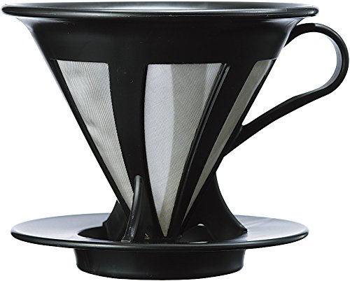 HARIO Two Cup Stainless Steel Drip Coffee Maker, Black