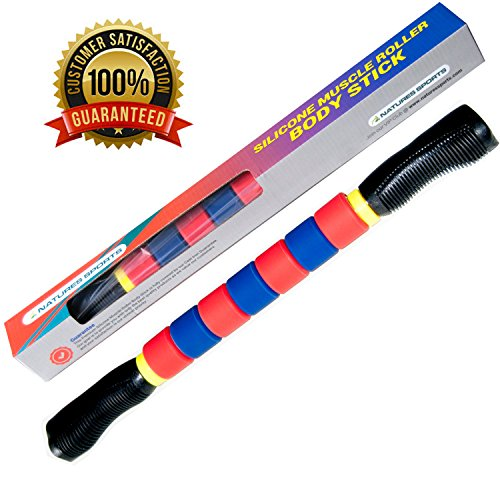 Muscle Roller Massage Stick -18 Inches - Athletes Roller Stick - Massage Tool - Instant Relief for Muscle Soreness Cramping and Tightness the Best Sports Massage Roller for Muscle Therapy and Recovery