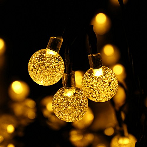 Solar String Lights, Outdoor Globe Lights by ICICLE, 20ft 30 LED 8 Modes Fairy Orb Crystal Ball Lighting for Christmas Trees, Garden, Patio, Wedding, Party and Holiday Decorations, Warm White