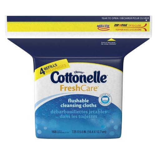 Cottonelle Fresh Flushable Wipes, Refills, Case of 4/168s (672 ct)