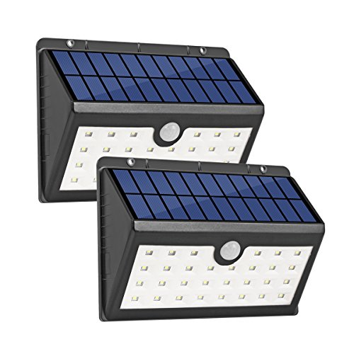 InnoGear Solar Sensor Wall Light 30 LED Nightlight Outdoor Security Lighting with Motion Sensor for Step Stair Garden Fence Deck Yard Home Driveway, Pack of 2