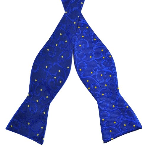 PenSee Mens Jacquard Woven Silk Self Bow Tie Blue and Yellow Polka Dots Bow Ties