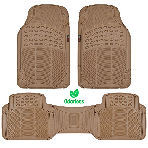 MotorTrend 100% Odorless Clean Rubber Car Floor Mat Set for Maximum Weather Protection (Sand Beige) -Semi Custom Fit