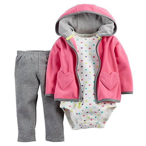 Carters Baby Girls 3-Piece Cardigan Set Pink Hearts 9M