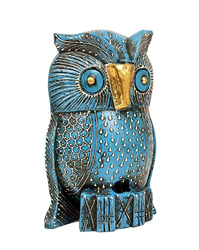 Handmade Decorative Wooden Owl Sculpture (6) with Brass Metal