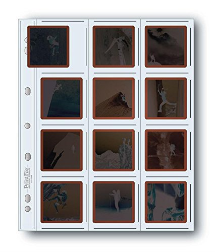 Print File Archival Storage Page for Slides, 35mm (2x2), Holds 20 Slides, Top-Load, Heavyweight (8-Mil), Clear Back (Binder Only) - Pack of 25