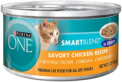 Purina ONE SmartBlend Wet Cat Food, Braised in Gravy, Savory Chicken Recipe, 3-Ounce Can, Pack of 24
