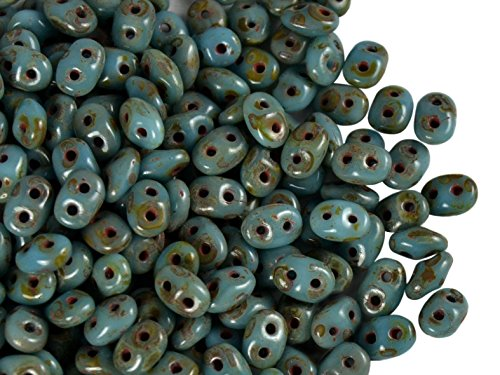 Czech Two-Hole Seed Beads SuperDuo Turquoise with Dark Travertin 20gram