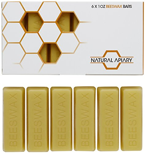 NATURAL APIARY® 100% ORGANIC BEESWAX BARS - Six (6) COSMETIC Grade 1oz Bars - Lotions, Lip Balms, Skin Care, Candles, Soap Making, Polish - Money Back Guarantee