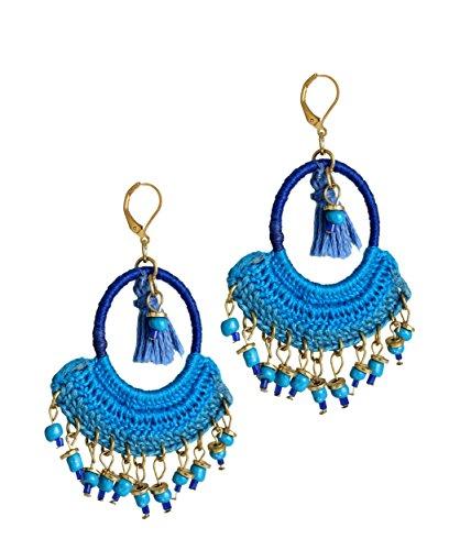 Earrings for Women Classy Hand Woven & Beads Dangler in Regal Blue Fashion Accessory