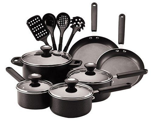 Farberware Clear Benefits 14-Piece Cookware Set, Black