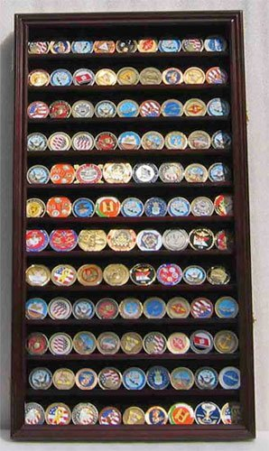 Large 108 Military Challnege Coin, Antique Coin, Poker Chip Display Case Cabinet Rack-MAHOGANY (COIN2-MA)
