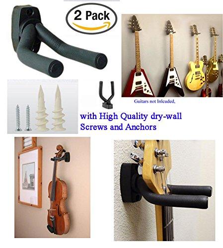 2 X Guitar Hanger Hook Holder Wall Mount Display - Fits all size Guitars, Bass, Mandolin, Banjo, etc.